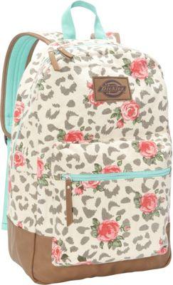 Dickies Hudson Cotton Canvas Backpack Cheetah Roses - Dickies School & Day Hiking Backpacks