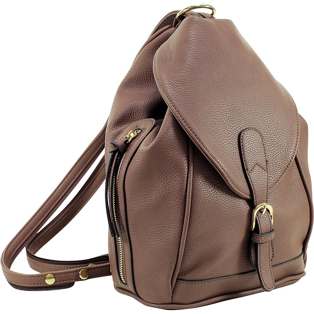 Dasein Classic Convertible Backpack/Shoulder Bag Brown - Dasein Manmade Handbags - Handbags, Manmade Handbags