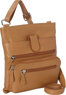 R & R Collections Leather Crossbody with Zip Around Pocket Camel - R & R Collections Leather Handbags