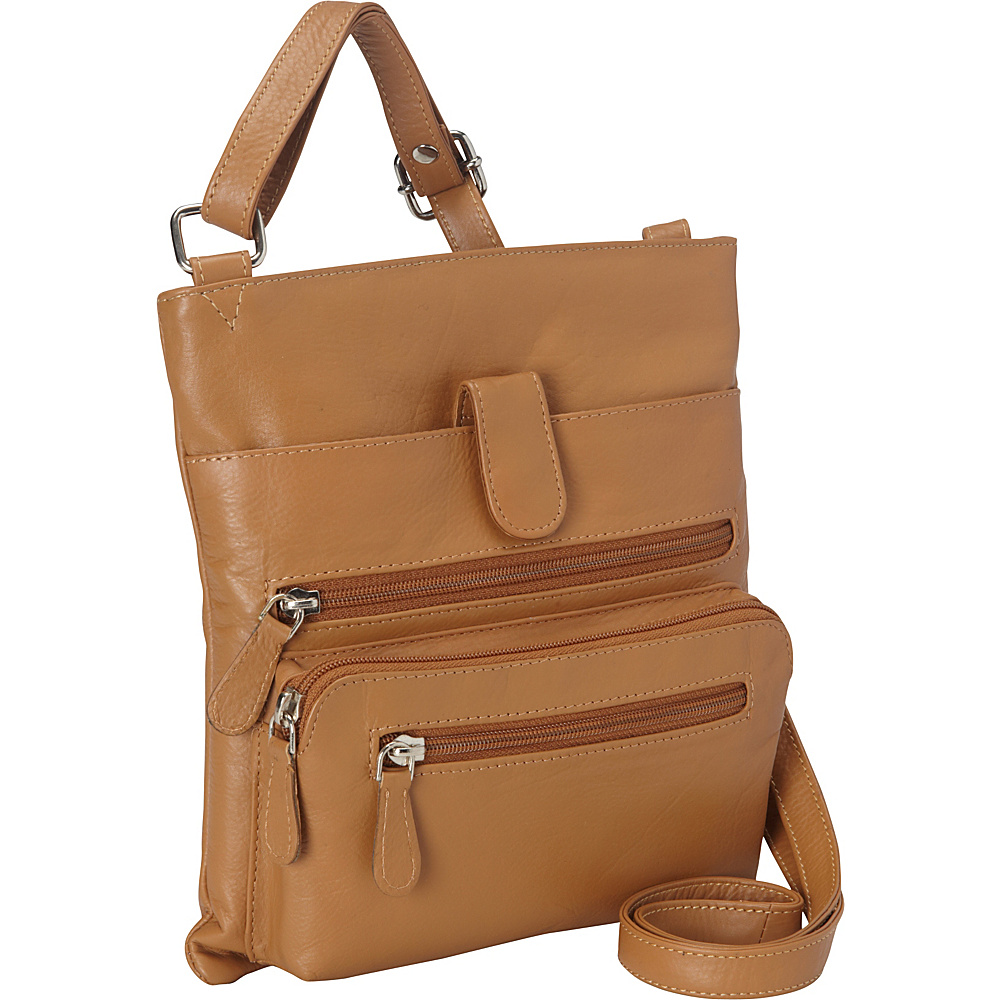 R R Collections Leather Crossbody with Zip Around Pocket Camel R R Collections Leather Handbags