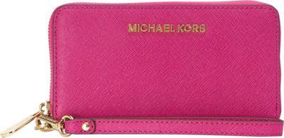MICHAEL Michael Kors Jet Set Travel Large Multifunction Phone Case Wallet Fuschia - MICHAEL Michael Kors Designer Handbags
