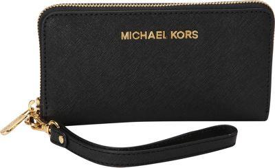 MICHAEL Michael Kors Jet Set Travel Large Multifunction Phone Case Wallet Black - MICHAEL Michael Kors Designer Handbags