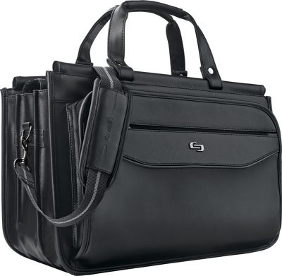 SOLO Classic 15.6 inch Laptop Triple Compartment Briefcase Black - SOLO Non-Wheeled Business Cases