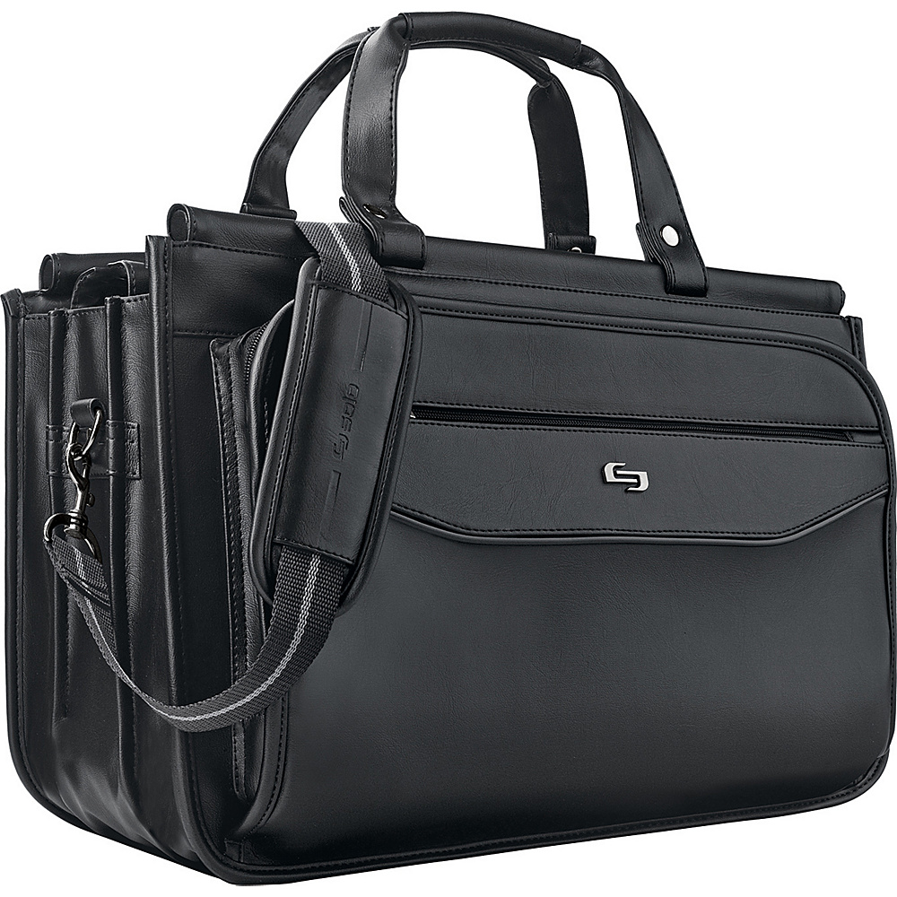 "SOLO Classic 15.6"" Laptop Triple Compartment Briefcase Black - SOLO Electronic Cases"