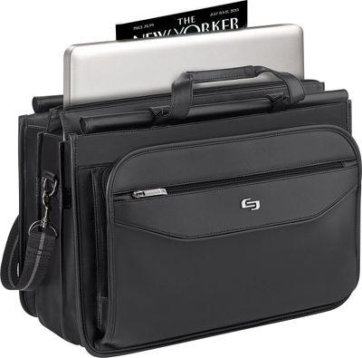 SOLO Classic 15.6 inch Laptop Triple Compartment Briefcase Black - SOLO Non-Wheeled Business Cases