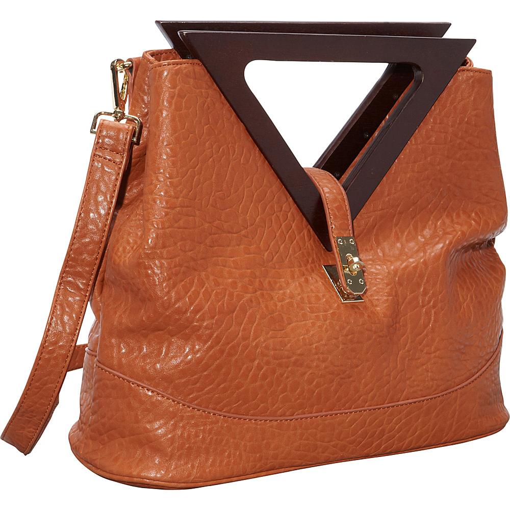 Ann Creek Triangle Handle Satchel Tan Ann Creek Manmade Handbags