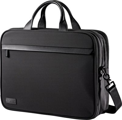 Hartmann Luggage Minimalist Double Compartment Brief Black - Hartmann Luggage Non-Wheeled Business Cases