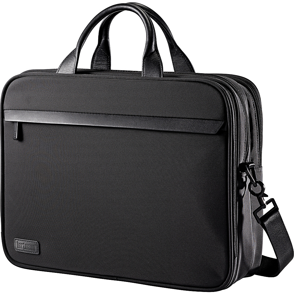Hartmann Luggage Minimalist Double Compartment Brief Black Hartmann Luggage Non Wheeled Business Cases