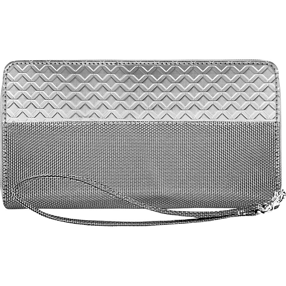 Stewart Stand RFID Blocking Zipper Wristlet Travel Wallet Silver Grey Mesh Stewart Stand Women s Wallets