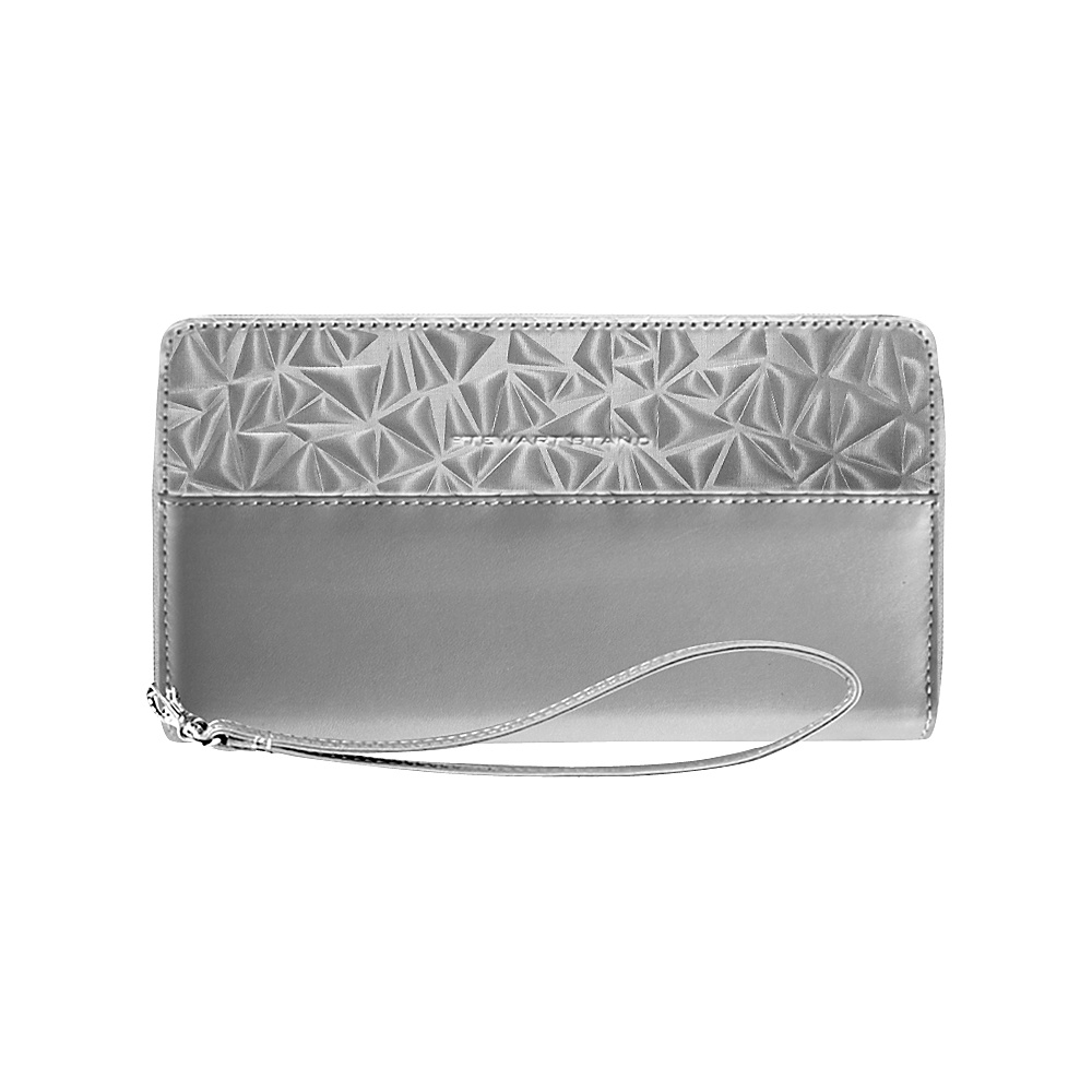 Stewart Stand RFID Blocking Zipper Wristlet Travel Wallet Silver Gray Textured Stewart Stand Women s Wallets