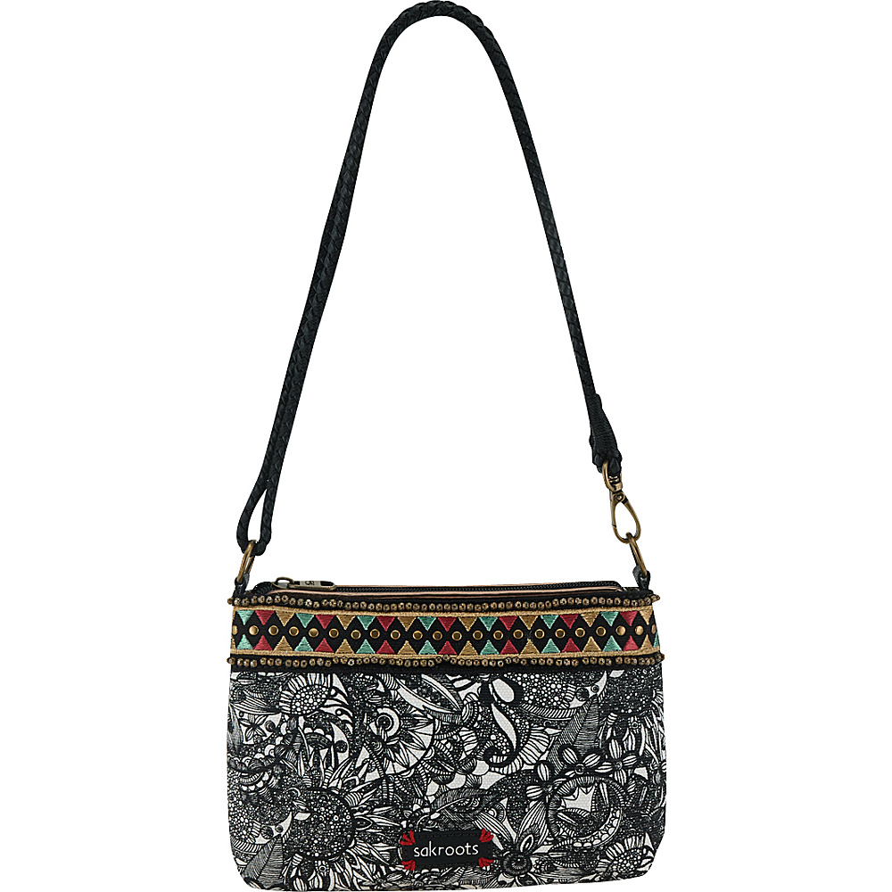 Sakroots Artist Circle Campus Mini Black and White Spirit Desert - Sakroots Fabric Handbags - Handbags, Fabric Handbags