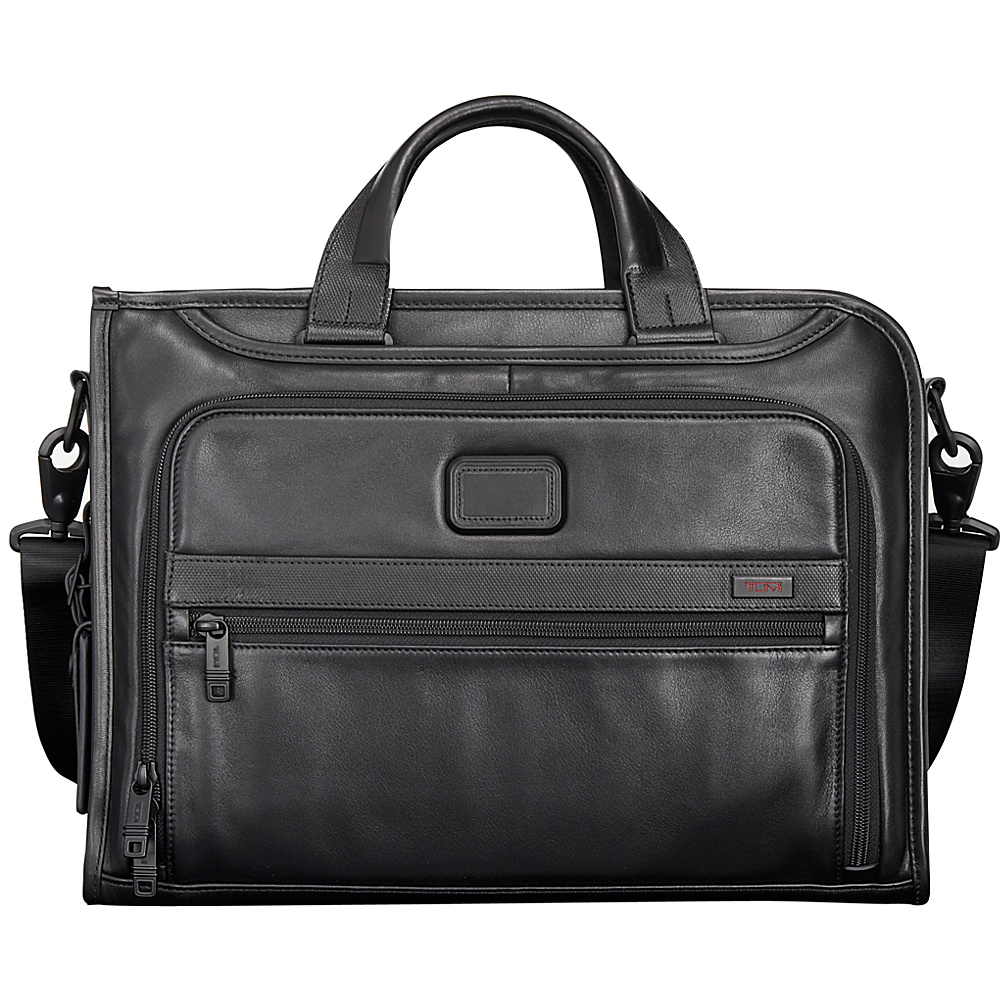Tumi Alpha 2 Slim Deluxe Leather Portfolio Black - Tumi Non-Wheeled Business Cases - Work Bags & Briefcases, Non-Wheeled Business Cases