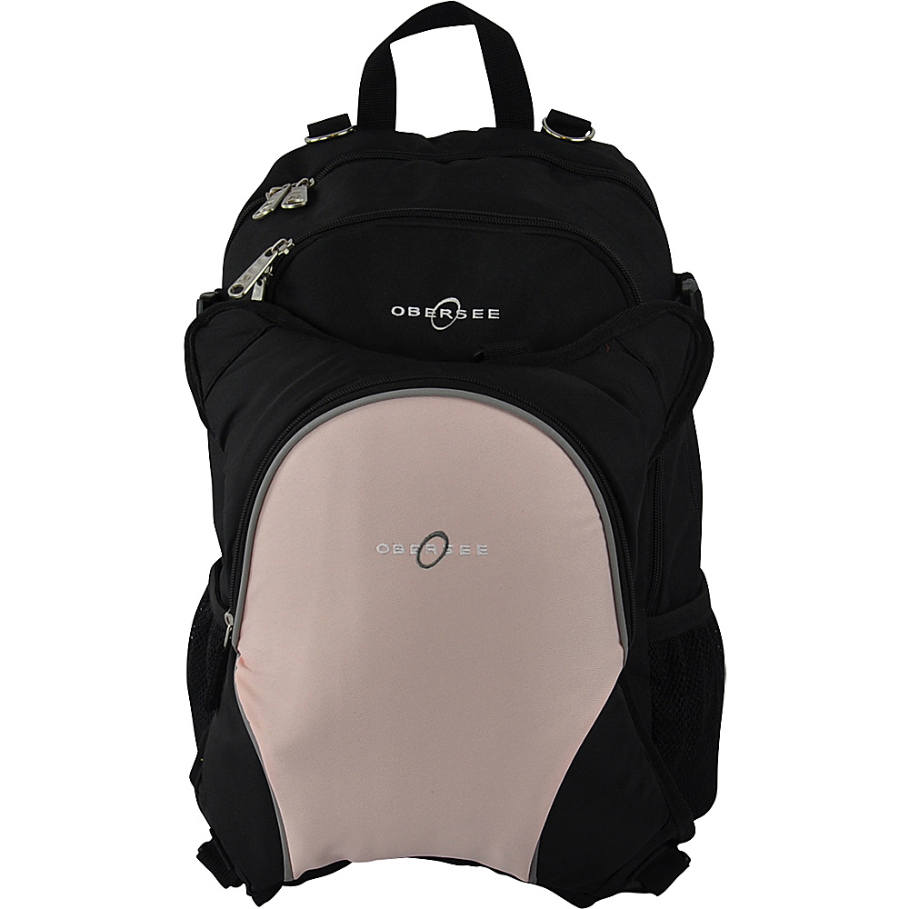 Obersee Rio Diaper Bag Backpack with Detachable Cooler Black/ Bubble Gum - Obersee Diaper Bags & Accessories