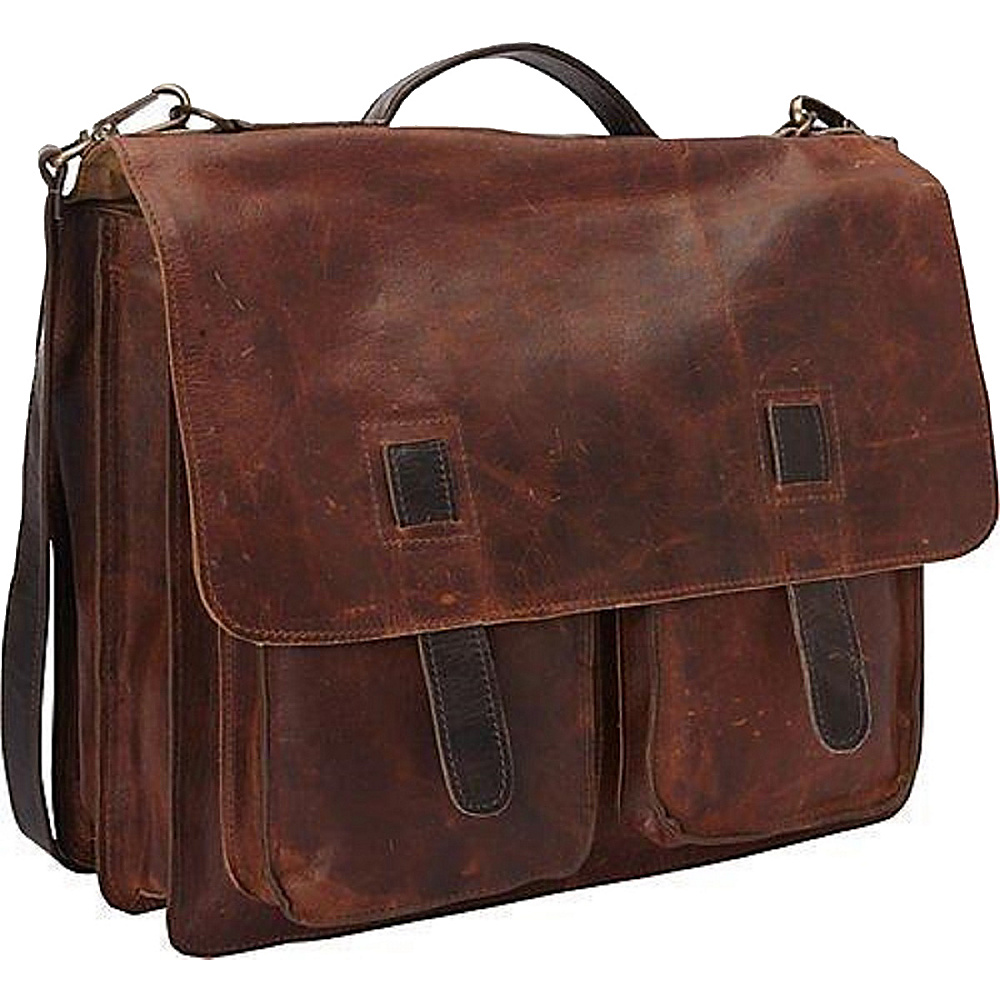 Sharo Leather Bags Vintage Two Toned Executive Messenger Briefcase Two-Tone Dark Brown/Very Dark Brown - Sharo Leather Bags Non-Wheeled Business Cases