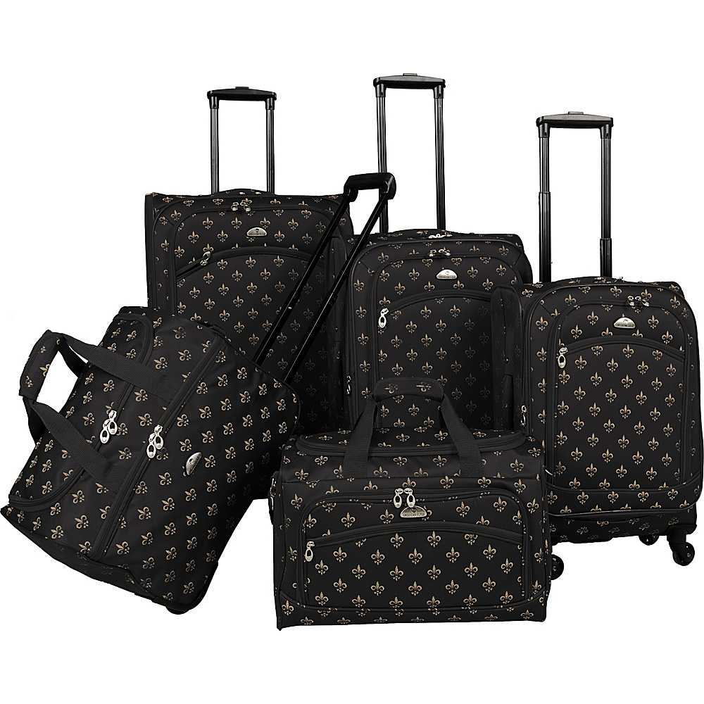 American Flyer Fleur de lis 5 Piece Spinner Set Black American Flyer Luggage Sets