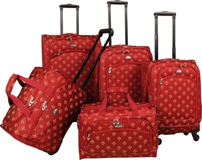 American Flyer Fleur de lis 5-Piece Spinner Set Red - American Flyer Luggage Sets