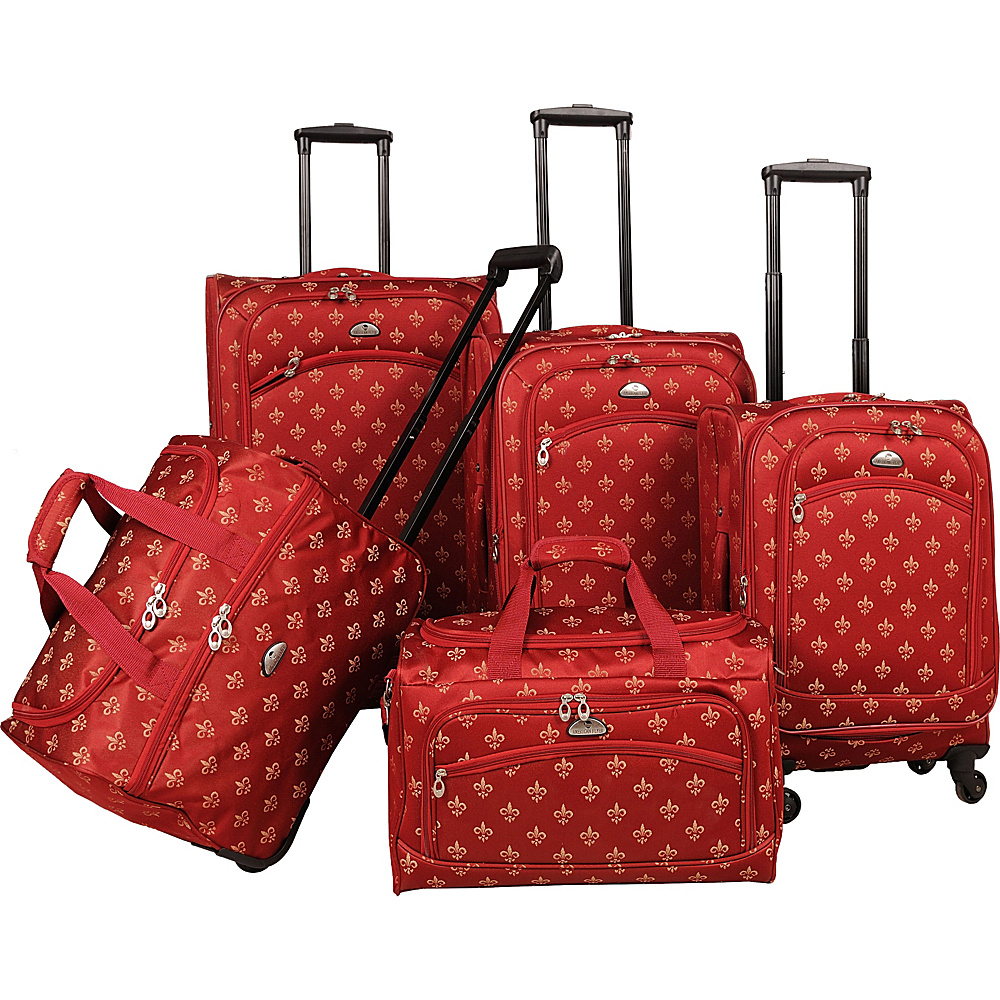 American Flyer Fleur de lis 5 Piece Spinner Set Red American Flyer Luggage Sets