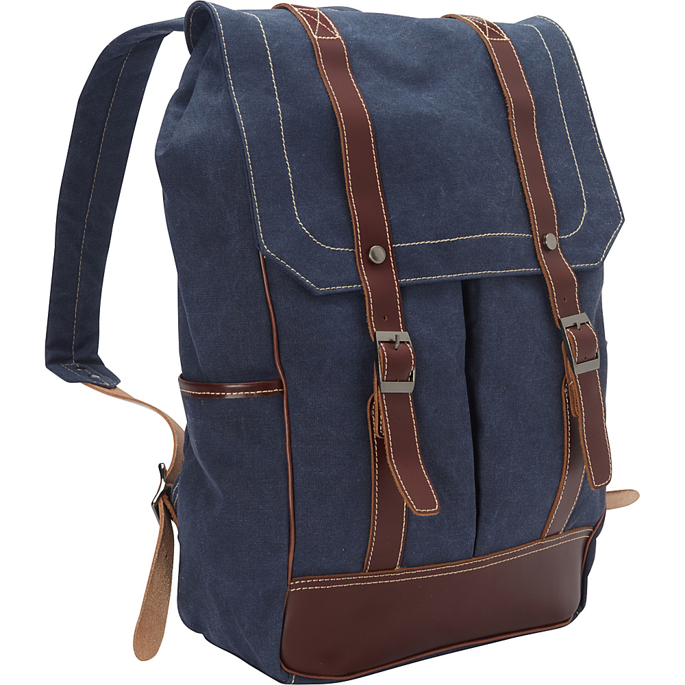 Vagabond Traveler Cowhide Leather Cotton Canvas Backpack Blue - Vagabond Traveler Everyday Backpacks - Backpacks, Everyday Backpacks