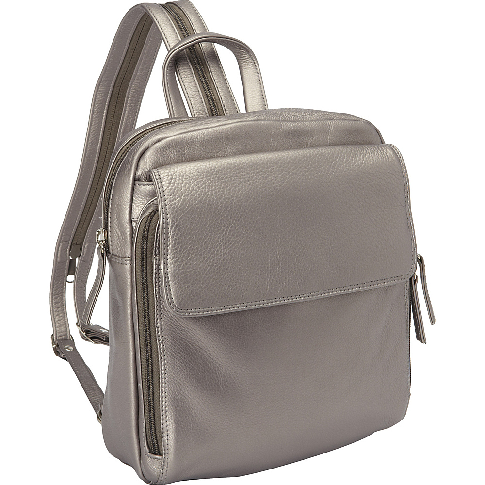 Derek Alexander Top Zip Sling Backpack Silver Derek Alexander Leather Handbags