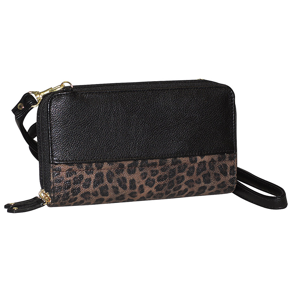 Buxton Posh Cheetah Ultimate Wallet Black Buxton Women s Wallets