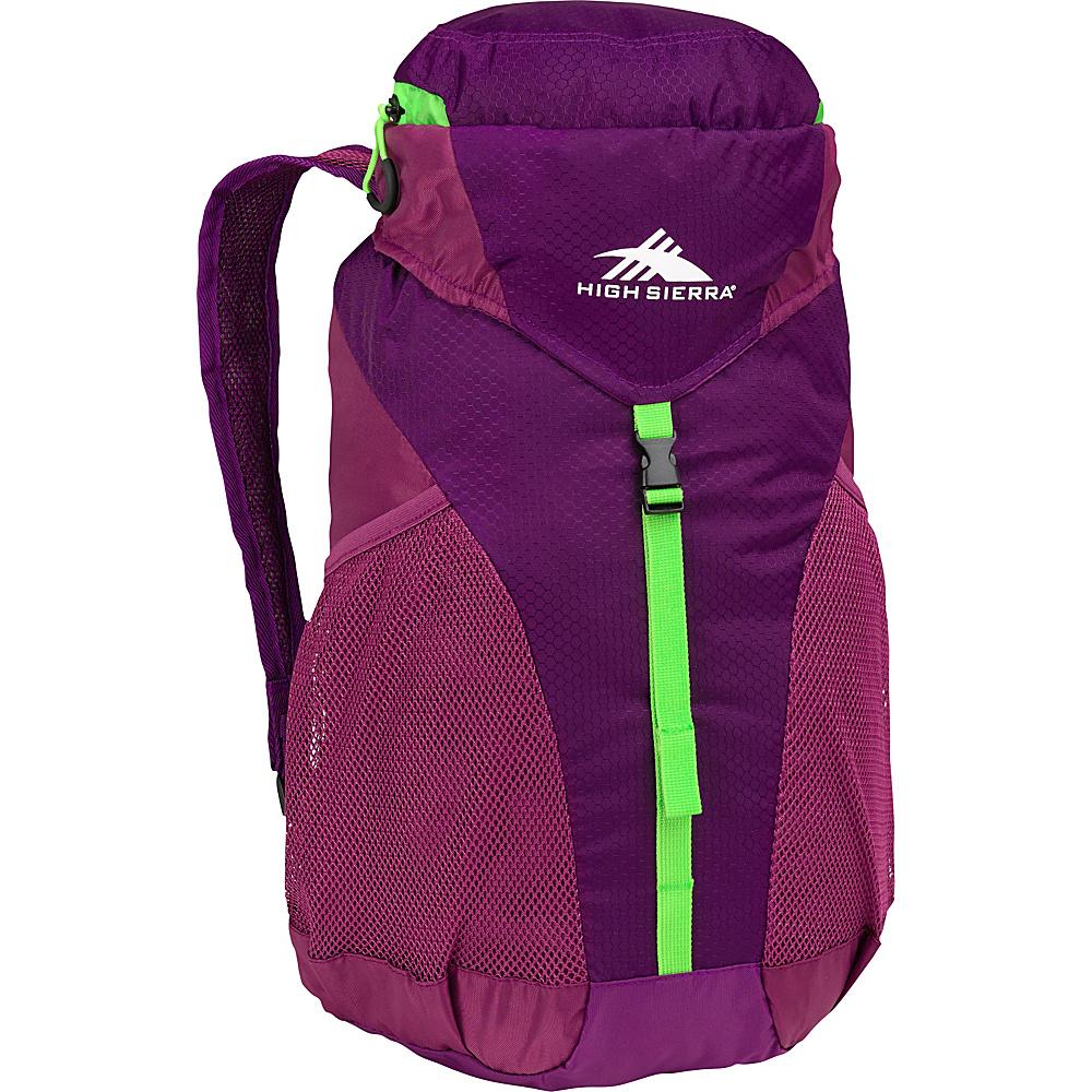 High Sierra 20L Packable Sport Backpack EGGPLANT/BERRY BLAST/LIME - High Sierra Packable Bags