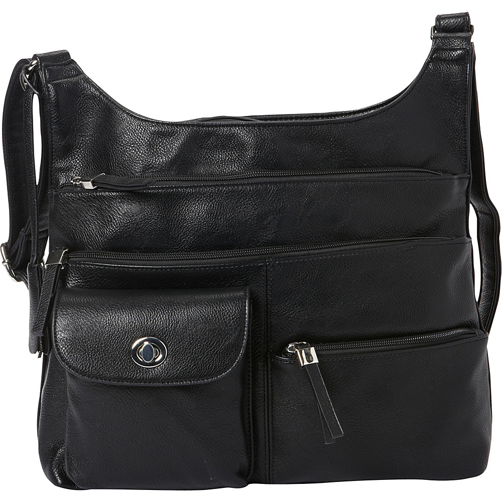 La Diva RFID Cena Organizer Crossbody Exclusive Black La Diva Manmade Handbags