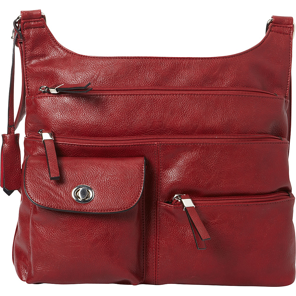 La Diva RFID Cena Organizer Crossbody Exclusive Red La Diva Manmade Handbags