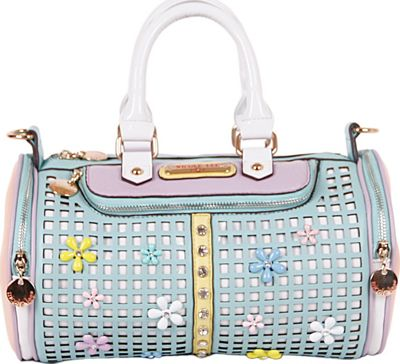 Nicole Lee Selina Floral Pastel Barrel Bag Mint - Nicole Lee Manmade Handbags