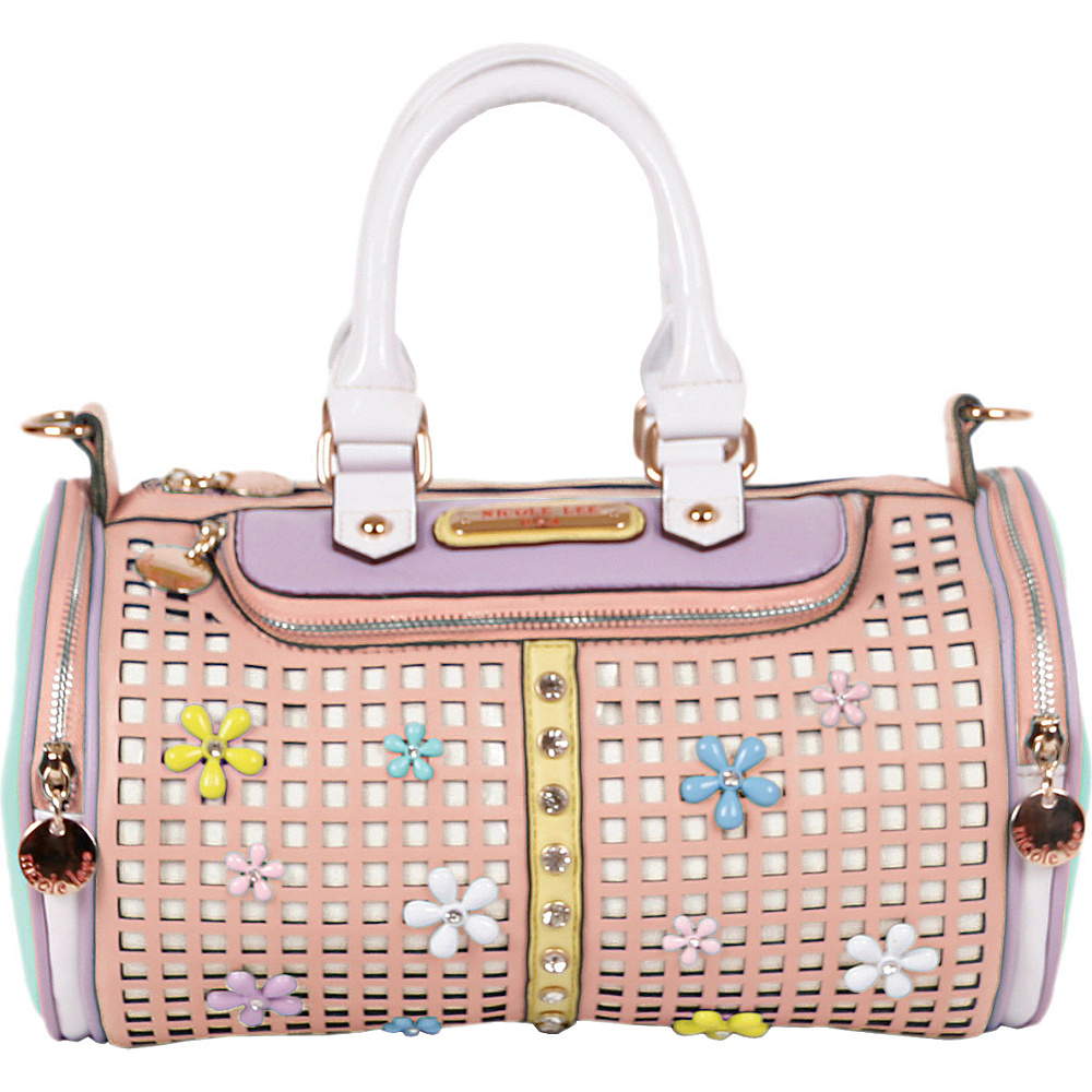Nicole Lee Selina Floral Pastel Barrel Bag Peach - Nicole Lee Manmade Handbags