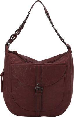 Donna Bella Designs Piper Rustic Hobo Bag Mulberry - Donna Bella Designs Manmade Handbags