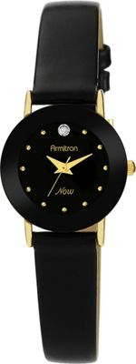Image of Armitron Ladies Diamond Accented Leather Strap Watch Black - Armitron Watches