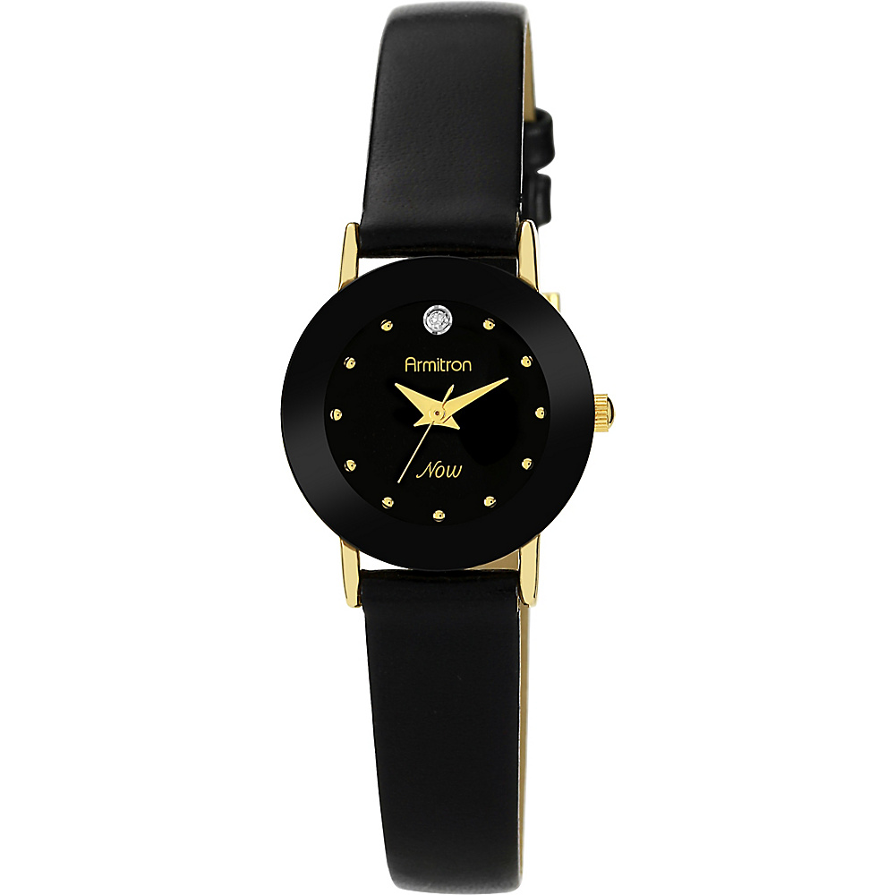 Armitron Ladies Diamond Accented Leather Strap Watch Black Armitron Watches
