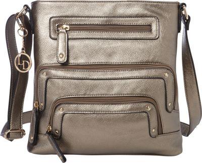 La Diva Crossbody with Pockets Pewter - La Diva Manmade Handbags