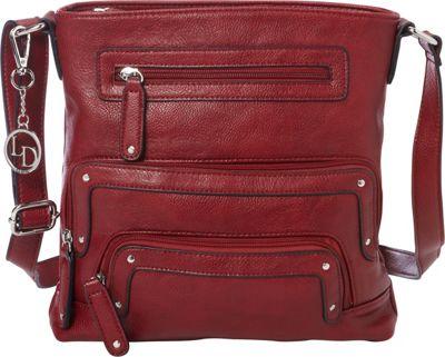 La Diva Crossbody with Pockets Red - La Diva Manmade Handbags