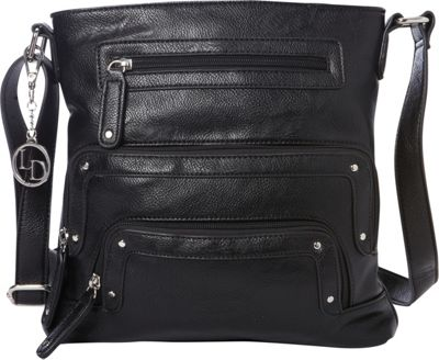 La Diva Crossbody with Pockets Black - La Diva Manmade Handbags