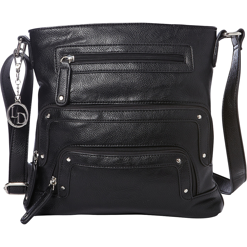 La Diva Crossbody with Pockets Black La Diva Manmade Handbags