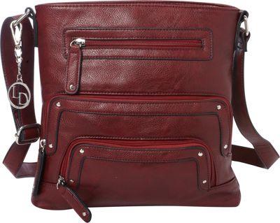 La Diva Crossbody with Pockets Wine - La Diva Manmade Handbags