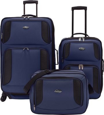 U.S. Traveler Bridgetown 3-Pc Expandable Luggage Set Blue - U.S. Traveler Luggage Sets