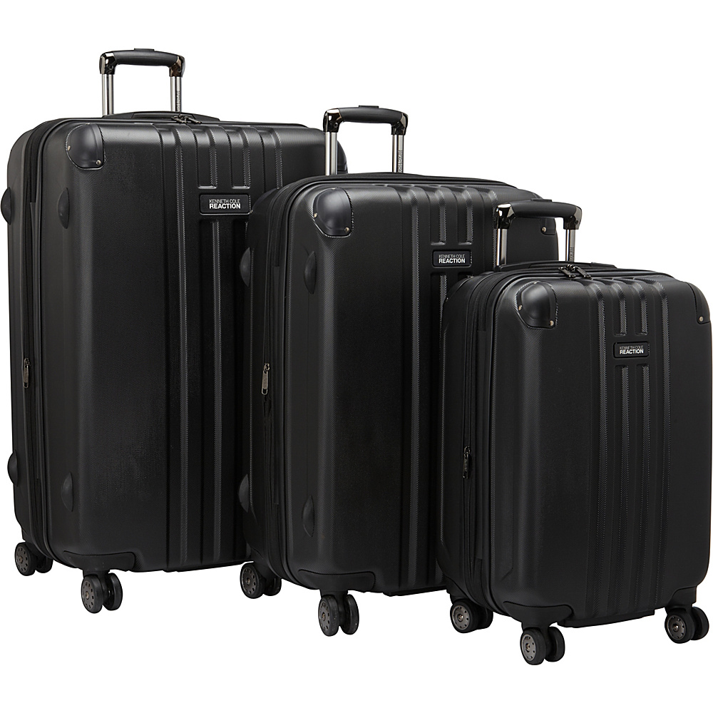 Kenneth Cole Reaction Reverb 3 Piece Expandable Hardside Spinner Set Black Kenneth Cole Reaction Luggage Sets