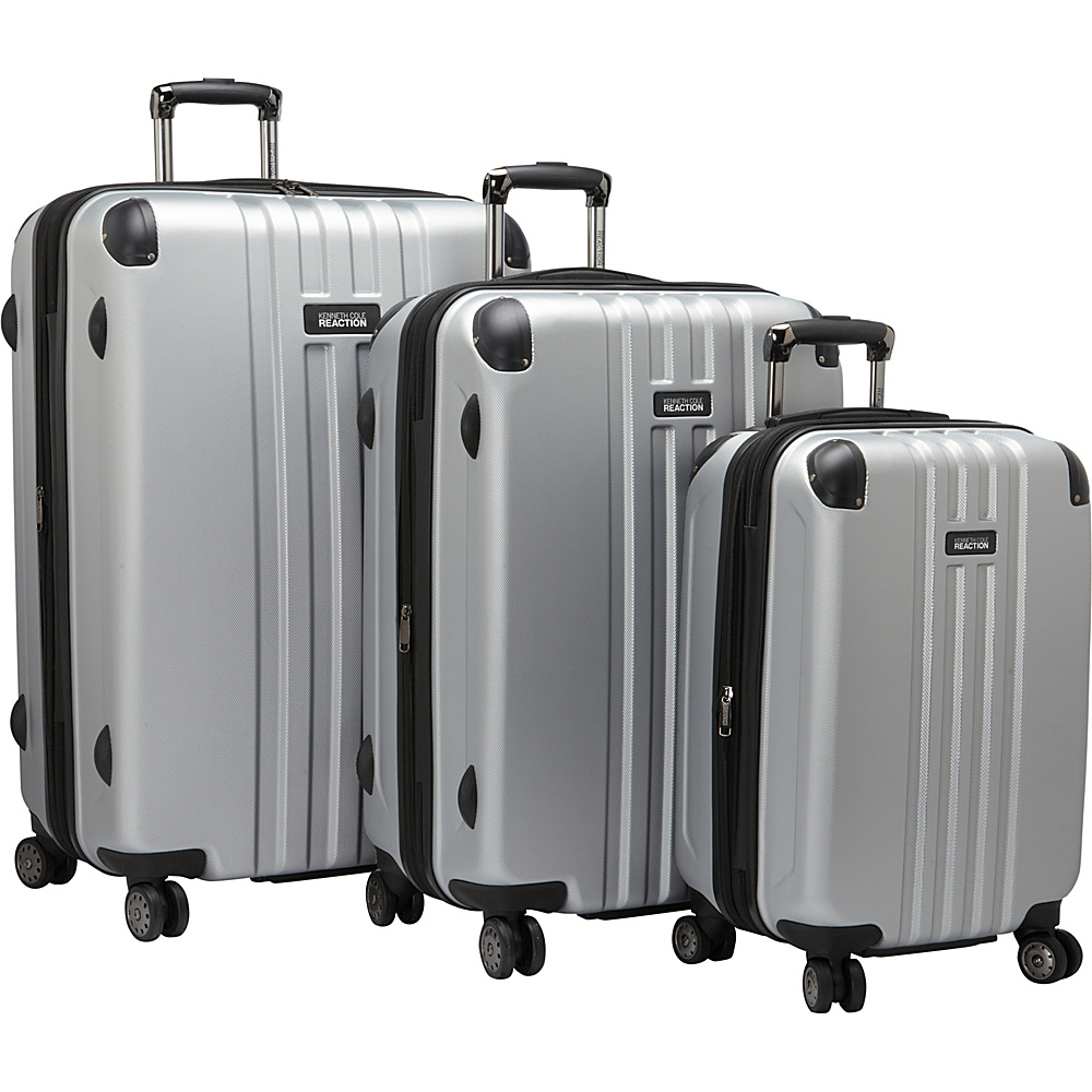 Kenneth Cole Reaction Reverb 3 Piece Expandable Hardside Spinner Set Silver - Kenneth Cole Reaction Luggage Sets