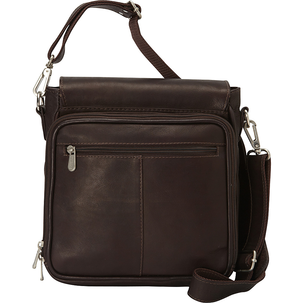Piel Double Loop Tablet Carry-All Messenger Bag Chocolate - Piel Other Mens Bags - Work Bags & Briefcases, Other Men's Bags