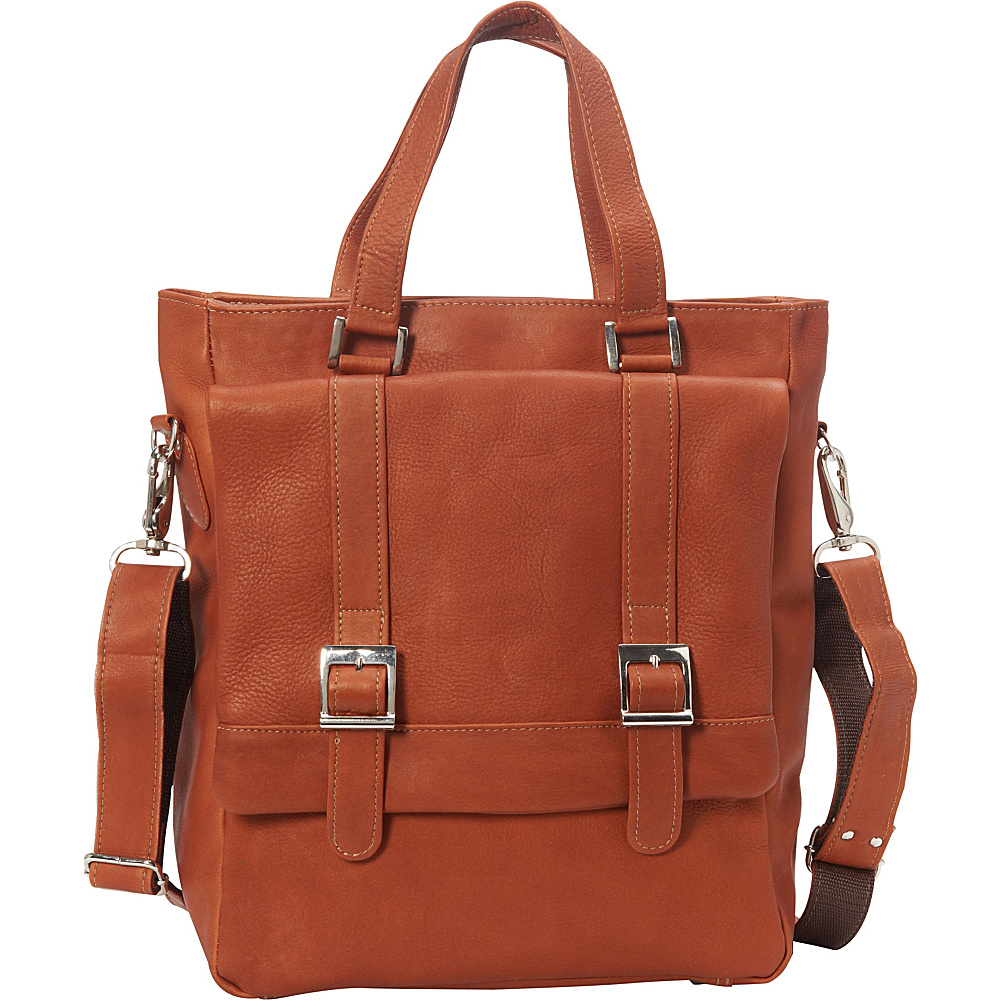 Piel Buckle Flap-Over Tote Saddle - Piel Leather Handbags - Handbags, Leather Handbags