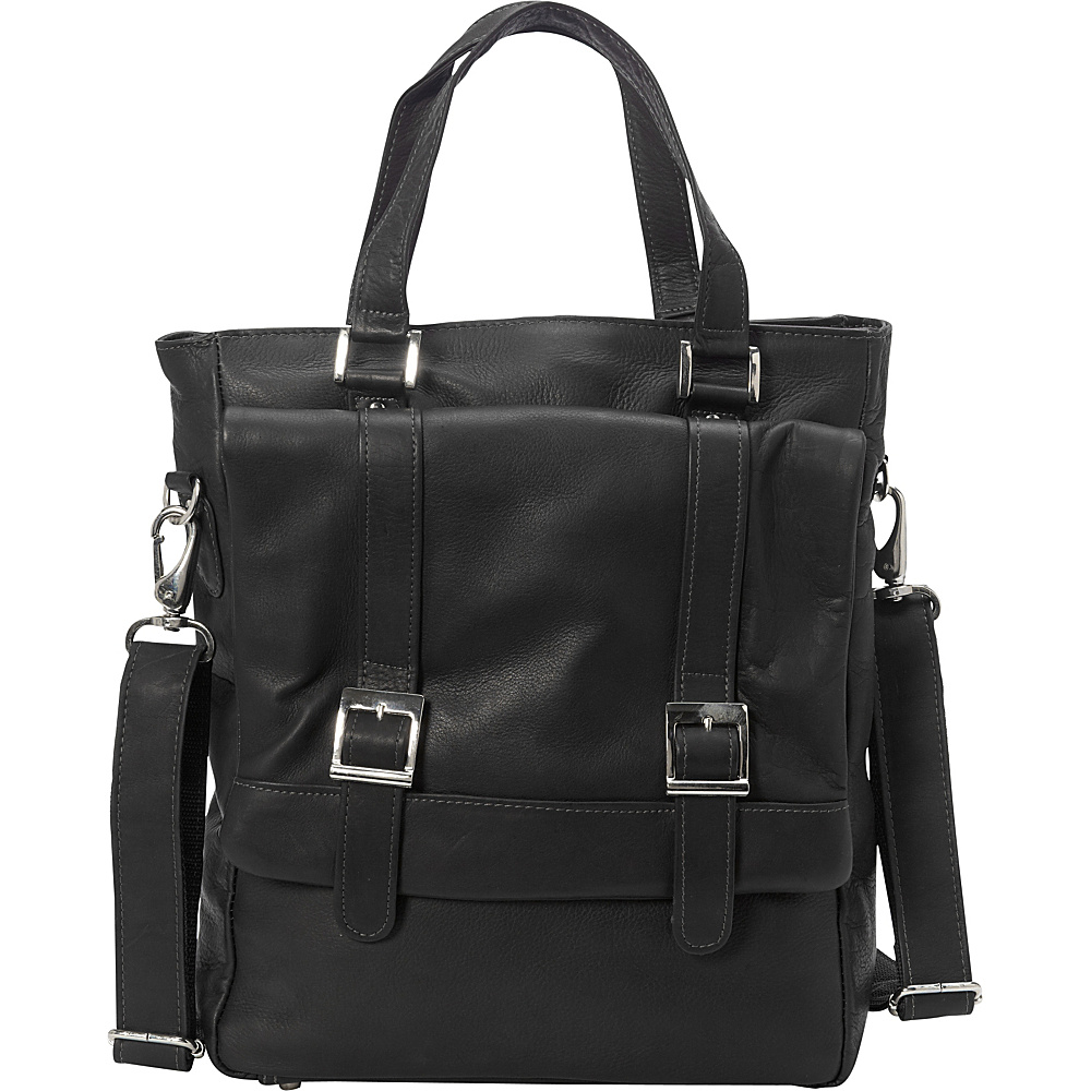 Piel Buckle Flap-Over Tote Black - Piel Leather Handbags