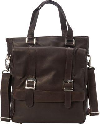 Piel Buckle Flap-Over Tote Chocolate - Piel Leather Handbags