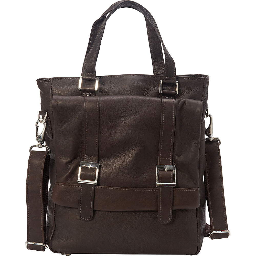 Piel Buckle Flap-Over Tote Chocolate - Piel Leather Handbags - Handbags, Leather Handbags