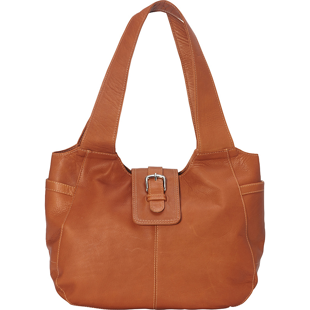 Piel Small Flap Hobo Bag Saddle - Piel Leather Handbags - Handbags, Leather Handbags