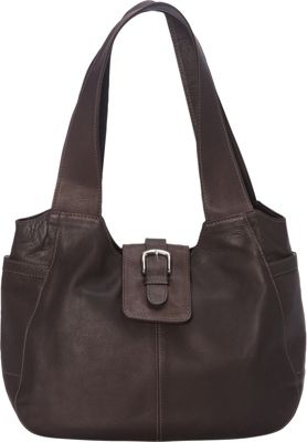 Piel Small Flap Hobo Bag Chocolate - Piel Leather Handbags
