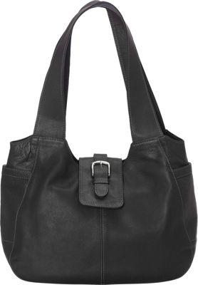 Piel Small Flap Hobo Bag Black - Piel Leather Handbags
