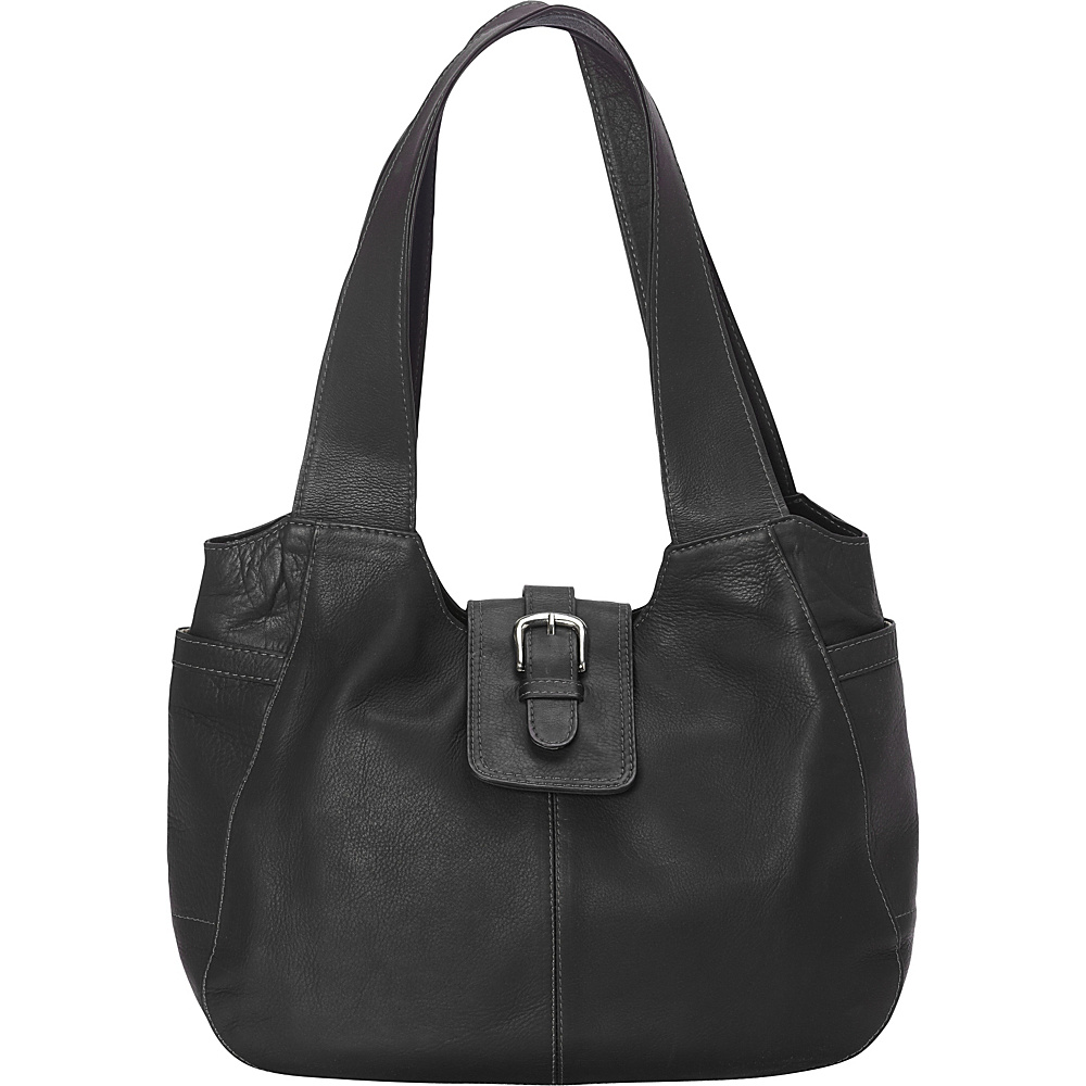 Piel Small Flap Hobo Bag Black - Piel Leather Handbags