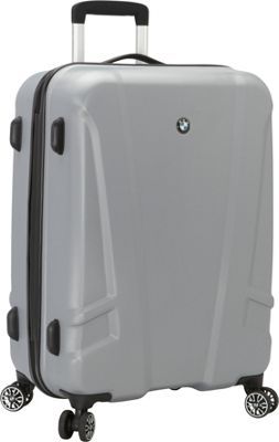 BMW Luggage 23.25 inch Split Case 8 Wheel Spinner Silver - BMW Luggage Hardside Checked